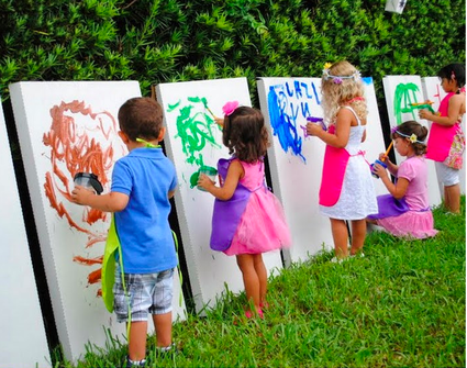 host a cool art party for your young artist with large paint surfaces and loads of paint this is nice to do outside but if outside is not an option